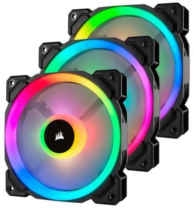 VENTILADOR CAJA CORSAIR LL120R RGB PACK 3 NEGRO